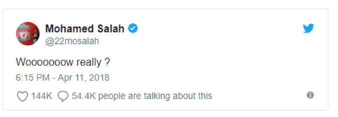 Salah tweet