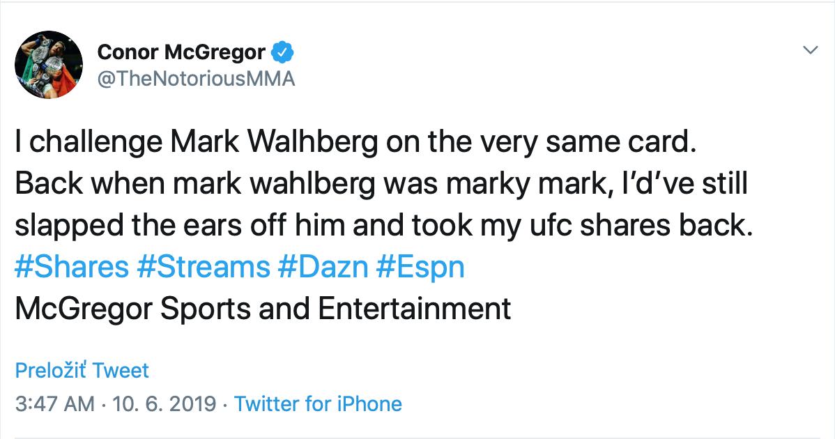 McGregor Twitter Wahlberg