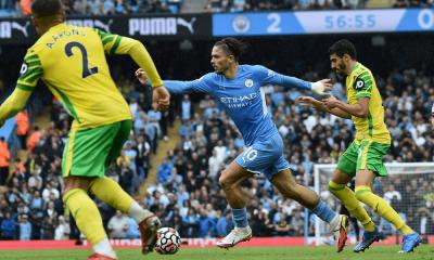 Grealish v zápase Manchester City - Norwich