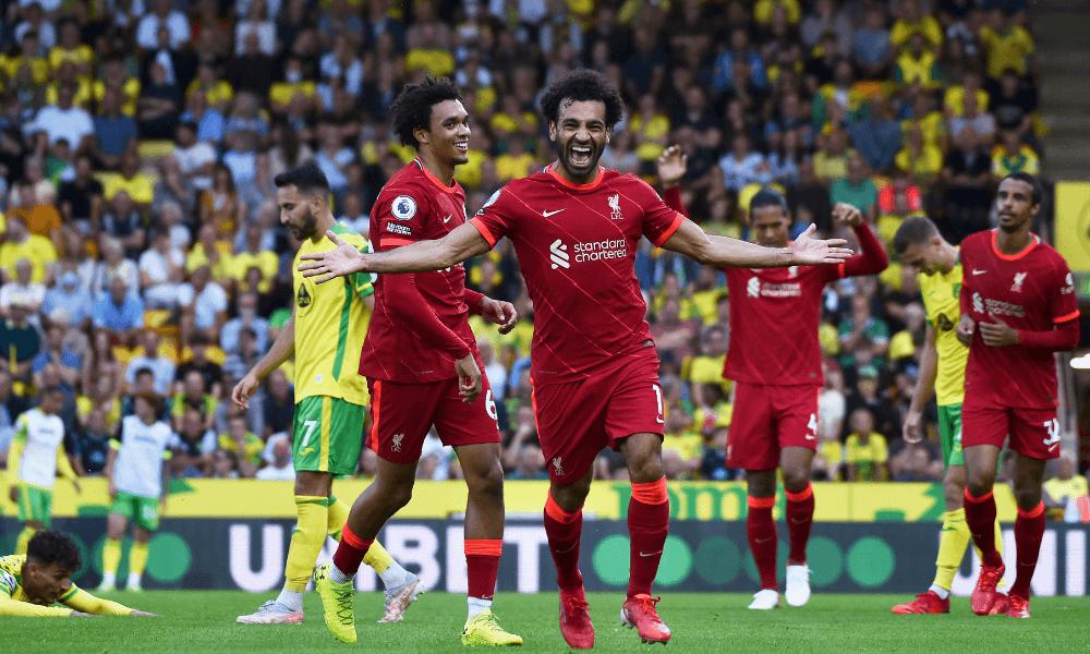 Salah v zápase Liverpool - Norwich